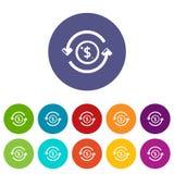 Colore di vettore fissato icone dei soldi di circolazione royalty illustrazione gratis