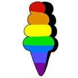 Colore disegnato a mano del Rainbow dell'icona del gelato Fotografie Stock