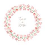 Colore disegnato a mano della corona floreale Fotografia Stock