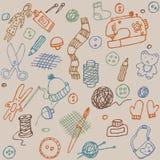 Colore fatto a mano degli oggetti reticolo senza giunte illustrazione di stock