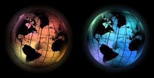Colore freddo e caldo del globo d'ardore del mondo Fotografia Stock Libera da Diritti