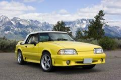 Colore giallo convertibile 1991 del mustang del Ford Fotografia Stock Libera da Diritti