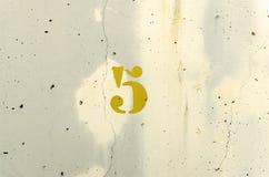 Colore giallo di numero cinque Immagine Stock Libera da Diritti
