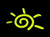 colore giallo di turbinio del sole del segno al neon Fotografia Stock