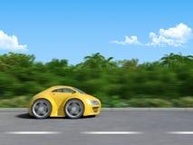 Colore giallo sportcar sulla strada Royalty Illustrazione gratis