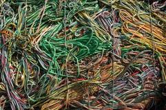 Colore giallo verde dei cavi Fotografie Stock