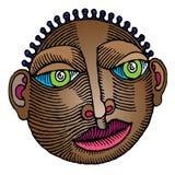 Colore inciso testa africana bella Fotografia Stock