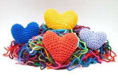 Colore les coeurs de laine Photos stock