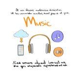 Colore Logo Set Collection di tiraggio della mano dell'icona di musica Immagine Stock