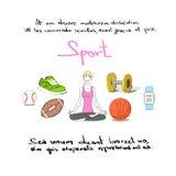 Colore Logo Set di tiraggio della mano dell'icona di sport della donna Immagini Stock Libere da Diritti