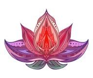 Colore Lotus con il modello di boho Immagine Stock Libera da Diritti