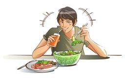 Colore mangiatore di uomini sano dell'insalata Fotografia Stock Libera da Diritti