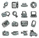 Colore a mano libera 2 di Or Reporter Icons del giornalista Fotografia Stock