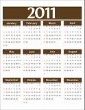 Colore marrone del calendario 2011 di vettore Immagine Stock
