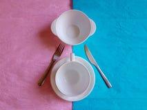 Colore pastello minimo di concetto di progetto di ora di colazione Fotografia Stock