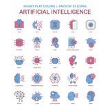 Colore piano oscuro dell'icona di intelligenza artificiale - icona dell'annata 25 illustrazione vettoriale
