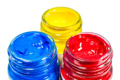 Colore primario in bottiglia di vetro Immagini Stock Libere da Diritti