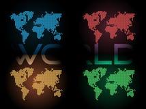 Colore quattro delle mappe di mondo punteggiate di Digital Immagine Stock