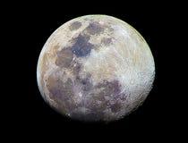 Colore reale della luna Fotografia Stock