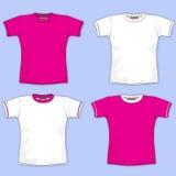 Colore rosa in bianco della maglietta Immagini Stock