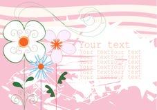 Colore rosa della priorità bassa con i fiori Immagine Stock