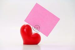 Colore rosa di Placecard del cuore Fotografie Stock