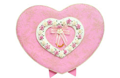 Colore rosa legato casella Heart-shaped Fotografia Stock Libera da Diritti