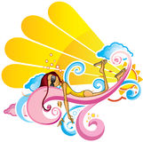 Colore rosa solare della ragazza Immagini Stock Libere da Diritti