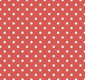 Colore rosso con i puntini di Polka bianchi Fotografie Stock