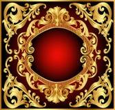 Colore rosso del blocco per grafici della priorità bassa con il reticolo dell'oro (en) Fotografie Stock Libere da Diritti