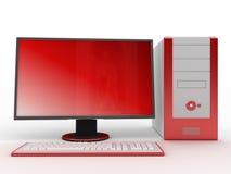 Colore rosso del calcolatore Fotografia Stock Libera da Diritti