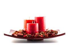Colore rosso del canlde della cera Fotografie Stock