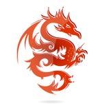 Colore rosso del drago di vetro dell'Asia isolato Immagine Stock
