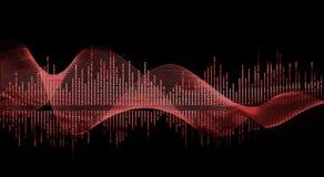 Colore rosso dell'onda di musica Immagine Stock