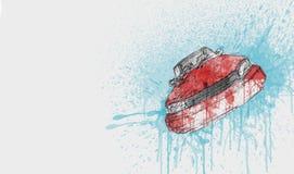 Colore rosso della bella automobile di Modren - colore di acqua su Libro Bianco royalty illustrazione gratis