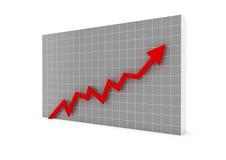 colore rosso della freccia del grafico commerciale Immagine Stock