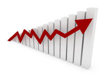 Colore rosso della freccia del grafico commerciale Fotografia Stock Libera da Diritti