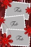 Colore rosso della pagina con i fiori Fotografie Stock Libere da Diritti