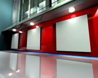 Colore rosso della parete della galleria Immagini Stock Libere da Diritti