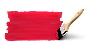 Colore rosso della pittura del pennello Fotografia Stock Libera da Diritti