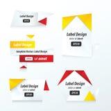 Colore rosso della raccolta delle etichette, giallo, nero stabilito Fotografia Stock