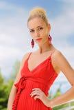 colore rosso della signora del vestito Immagine Stock Libera da Diritti