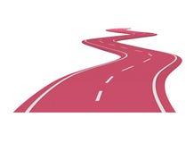 Colore rosso della strada asfaltata della curva Immagini Stock