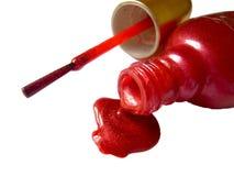 colore rosso dello smalto di chiodo immagine stock
