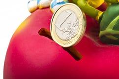 Colore rosso di Moneybox Fotografie Stock Libere da Diritti