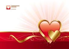 Colore rosso e biglietti di S. Valentino dell'oro Immagini Stock