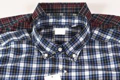 Colore rosso e camicia controllata blu del reticolo Fotografia Stock