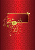 Colore rosso e cartolina d'auguri floreale dell'oro Fotografie Stock