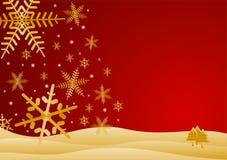 Colore rosso e scena di inverno dell'oro Immagini Stock