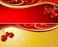 Colore rosso ed oro della priorità bassa di natale Fotografie Stock Libere da Diritti